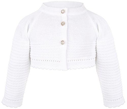 Lilax Baby Girls' Knit Long Sleeve Button Closure Wavy Bolero Cardigan Shrug 6-9 Months White