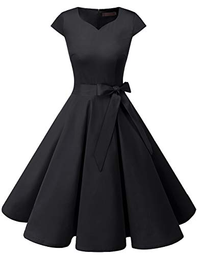 DRESSTELLS Retro 1950s Solid Color Cocktail Dresses Vintage Swing Dress with Cap-Sleeves Black - Satin Dress Length Knee