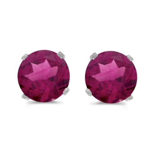 5mm Round Garnet Post Earrings - 0.84 Carat (ctw) 14k White Gold Round Red Rhodolite-Garnet Solitaire Stud Earrings with Post with Friction Back (5 MM)