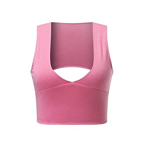 Tight Tank Tops,Women's Sexy Deep V Neck Back Cutout Tight Sleeveless Racerback Tank Crop Tops (Pink_12,X-Large)