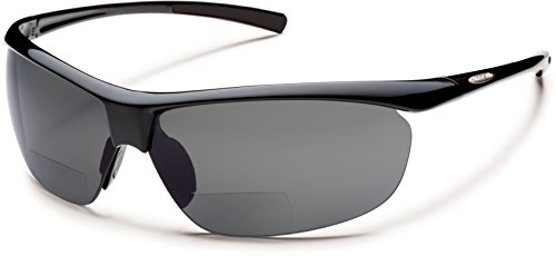 Suncloud Zephyr +1.50 Polarized Reader Sunglasses, Black Frame, Gray Polycarbonate Lenses
