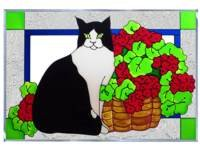 Cat Black White Red Geranium Horizontal Art Glass Panel Wall