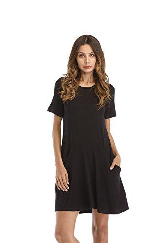 Zero City Womens Casual Pockets Plain Flowy Simple Swing T-Shirt Loose Dress, 2012_black, Medium