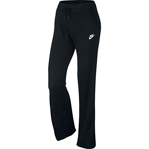 (Nike Womens NSW Fleece Open Hem Pants #803652-010 (Black/Black/White,)