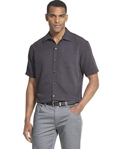 (Van Heusen Men's Air Grid Short Sleeve Button Down Shirt, Black X-Large)