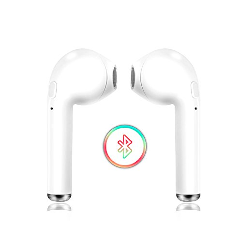 Bluetooth Headphones, Wireless Earbuds, DNLM Best Waterproof Sports Headsets Noise Cancelling Compatible iPhone X/8/8 Plus 7/7 Plus 6/6s Plus Android, Samsung Smartphones (White) (White-10)