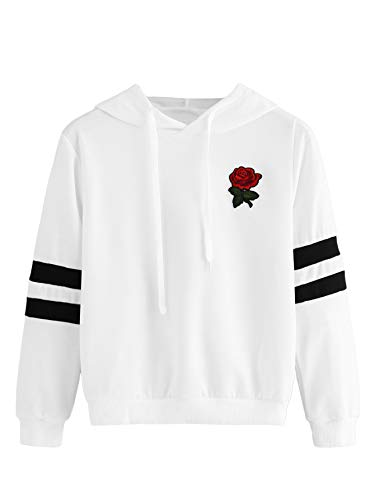 DIDK Women's Rose Patched Stripe Sleeve Drawstring Hoodie Sweatshirt White - Pullover Rose Sweater