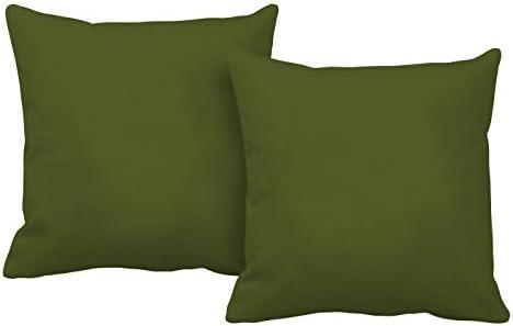 Italian Bed Linen Più Bello Fundas de Cojín, Poliéster, Verde Oscuro, 40x40x1 cm, 2 Unidades
