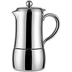 304 Stainless Steel Coffee Pot - Insulation Design - Coffee Percolator - Italian Espresso Hand-Made Moka Pot - 4 Servings / 6 Servings