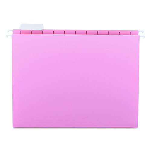 Smead Hanging File Folder, 1/5-Cut Adjustable Tab, Letter Size, Pink, 25 per Box (Pink Hanging File Folders)