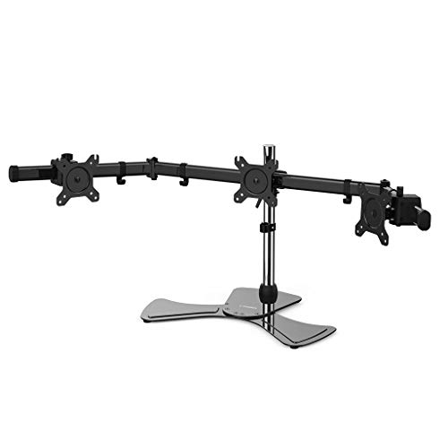 LANGRIA 3 Monitor Mount Arm Desk Freestanding Adjustable Height Stand Fits Monitor from 15'' to 27'', Cable Organizer and VESA Mount for Ergonomic Office Workstation or Gaming (Three Arms, Black)
