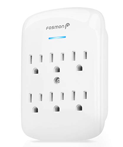 6 Outlet Wall Mount Surge Protector, Fosmon 3-Prong Surge Suppression 900 Joules, 15A 125VAC 60Hz 1875Watts Wall Outlet Adapter, Grounded LED, ETL Listed - White