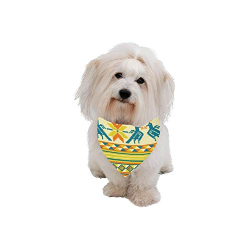 Easter Pet Dog Cat Bandana Tribal Vintage Folk Symbol Bird Wings Blue Pink Ethnic Style Art Fashion Printing Bibs Triangle Head Scarfs Kerchief Accessories For Large Dog Cat Pet Birthdays Party Gifts ()