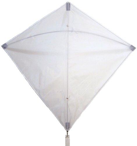 In the Breeze White 30 Inch Diamond Kite - Single Line - Ripstop Fabric - Includes Kite Line and Bag - Great Entry Level ()