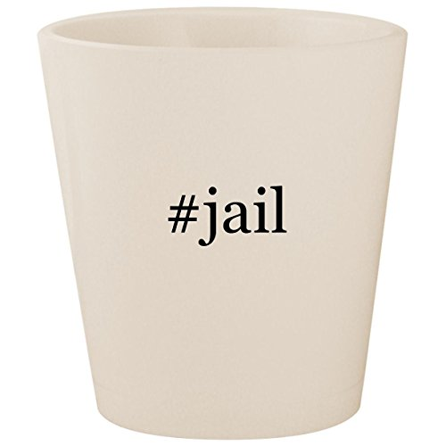 #jail - White Hashtag Ceramic 1.5oz Shot Glass for $<!--$15.95-->