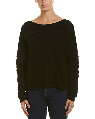 White + Warren Womens Dolman Cashmere Sweater, M Black
