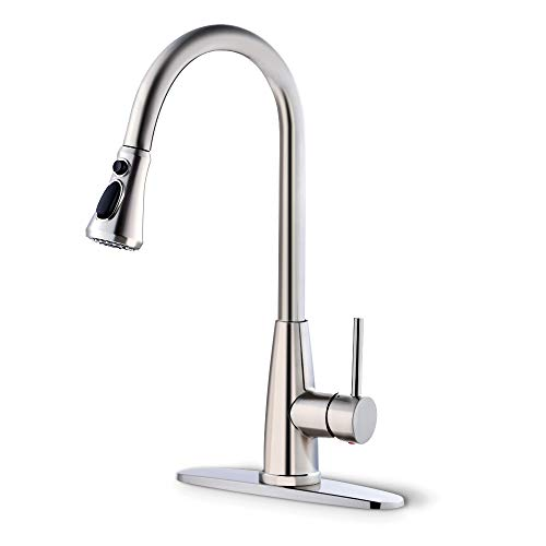 Achiotely Kitchen Faucets with Pull Down Sprayer, 3 Modes Kitchen Sink Faucet, Easy Installation, Brushed Nickel Design, with Deck Plate