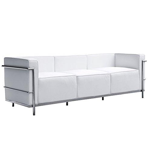 Modern Contemporary Sofa, White, Leather
