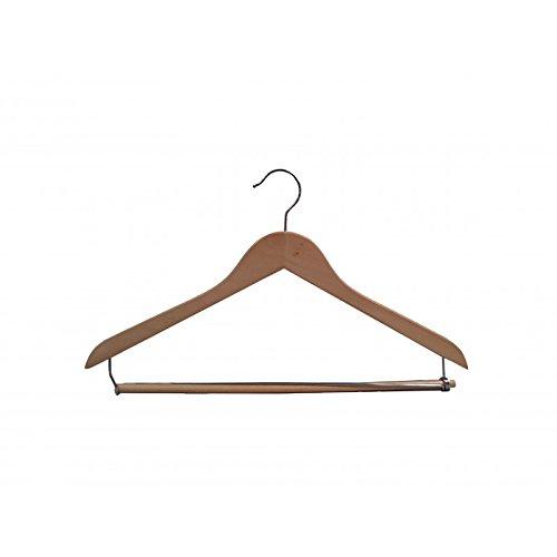 VidaNaticle Genesis flat suit hanger w/lock bar, natural finish, 50pcs/case - Genesis Flat Suit Hanger