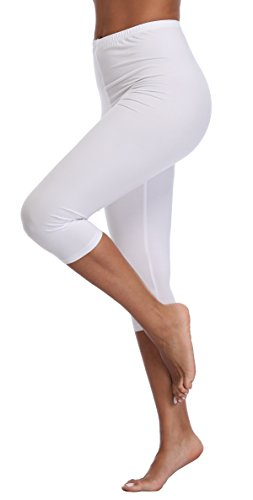 A-Wintage Women's Plus Size Capri Leggings 3/4 Length Leggings Modal Comfortable (Capri Cropped Tights)