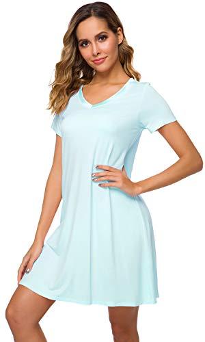 WiWi Women's V Neck Bamboo Nightgown Soft Short Sleeve, Aqua, 3X-Large