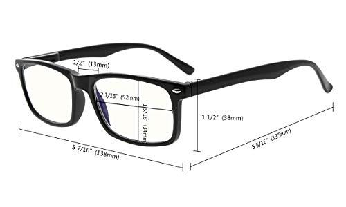 Eyekepper Computer Glasses Blue Light Filter Eyeglasses Anti Blue Glare Blocking UV Rays Men Women, Black