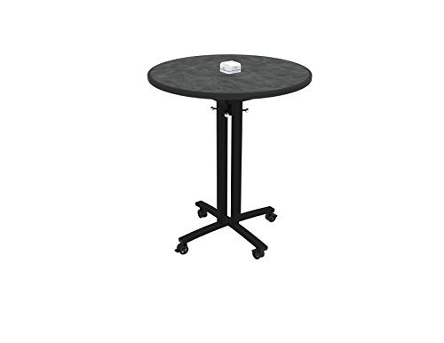 Nomad by Palmer Hamilton RELOAD Mobile Table with Usb Hub for Charging Mobile Devices, Pewter Round Top W/Black Leg, 36