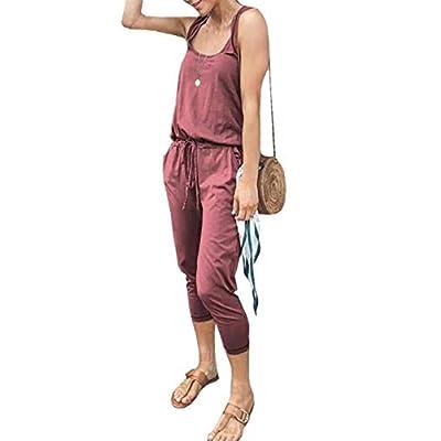 Ajpguot Verano Mujer Cuello Redondo Sin Mangas Monos Sólido Mamelucos Casual Jumpsuits Rompers: Ropa y accesorios