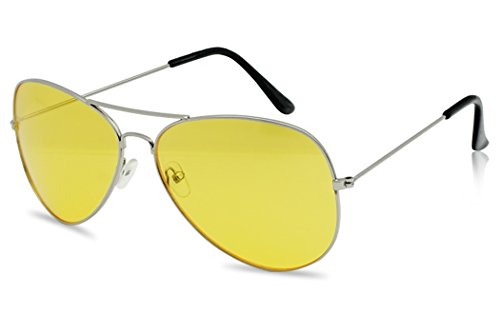 SunglassUP - Oversized 80's Vintage Style Yellow Night Driving Lens Round and Square Sunglasses (Silver, Yellow) -