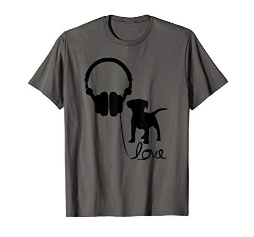 (Labrador Retriever TShirt Cute Love Headphones Music Puppy  T-Shirt)