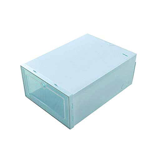 Fan-Ling 3PC Transparent Storage Shoe Box,Foldable Clear Shoes Storage Box,Plastic Stackable Shoe Organizer,Eco-Friendly Modern Style (Blue) (Rotating Cabinet Shoe)