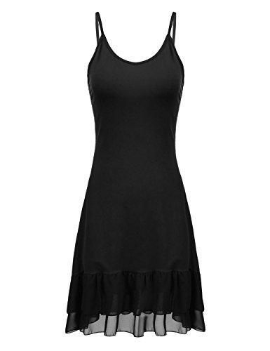 Cami Trim Ruffle (Art 90s Women's Adjustable Spaghetti Strap Sleeveless Lace Trim Slip Cami Dress Extender (X-Large, Black-3))