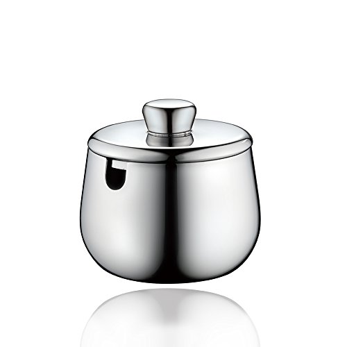 Minos Stainless Steel Sugar Bowl With Lid - 10 oz - Condiment Server - Serving Coffee And Tea On Table - Hand Polished And Stainless Steel