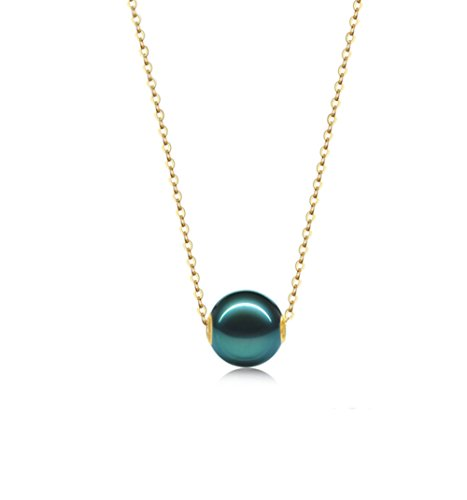 JYX Pearl 18K Yellow Gold Chain Pendant 10mm Round Peacock Green Cultured Tahitian Pearl Pendant Necklace for Women -