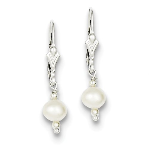 Sterling Silver Freshwater Cultured Pearl With Bead Leverback Drop Earrings - JewelryWeb
