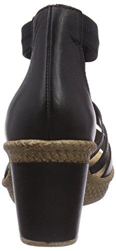 Rieker 66554 - Sandalias de vestir de cuero para mujer negro - Schwarz (schwarz/schwarz/schwarz/schwarz / 00)