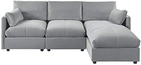 Amazon.com: Rabinyod Bulan Modern Living Room Velvet L Shape ...