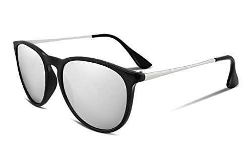 FEISEDY Vintage Polarized Way Farers Sunglasses Reflective Lens UV400 Protection - Sunglasses Trend Reflective