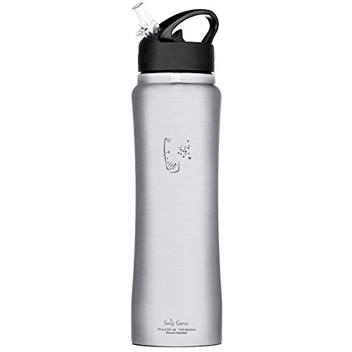 Swig Savvy Stainless Steel Insulated Leak Proof Flip Top Straw Cap Water Bottles with Pouch & Clip, 24oz, Steel