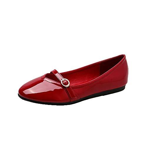 shoes 39 casual fashion FLYRCX pregnant women single dance comfortable Patent shoes round shoes shoes EU flat leather FHqFxIwAT