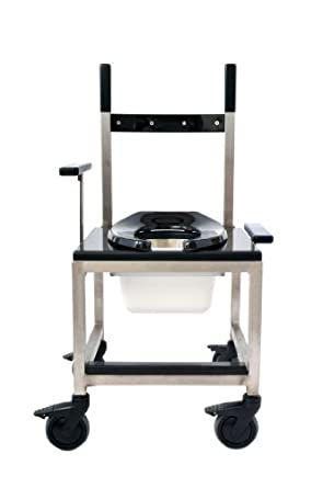 CENTiCARE C-SS1200-OT-B-4 Stainless Steel, 1000-Pound Capacity, Over the Toilet Shower Chair and Commode, Black