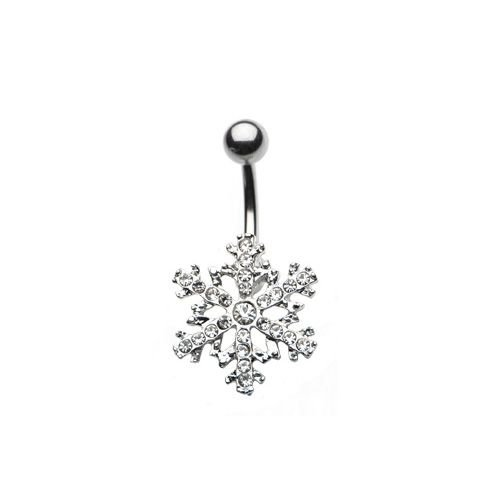 """Gem Snowflake Belly Button Ring - 14G 7/16"""""""