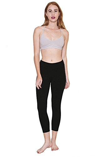 The Made in The USA Swift Capri Leggings in Non-GMO Organic Cotton + Spandex (Large, Obsidian)