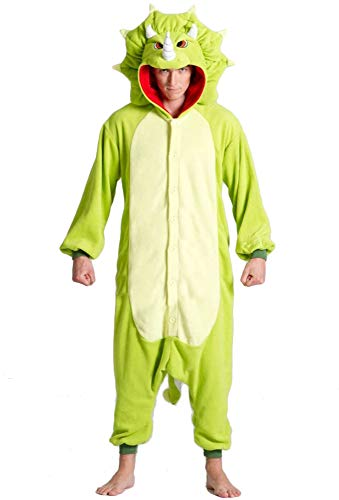 Triceratops Dinosaur Onesie Costume for Adults and Teens Green]()