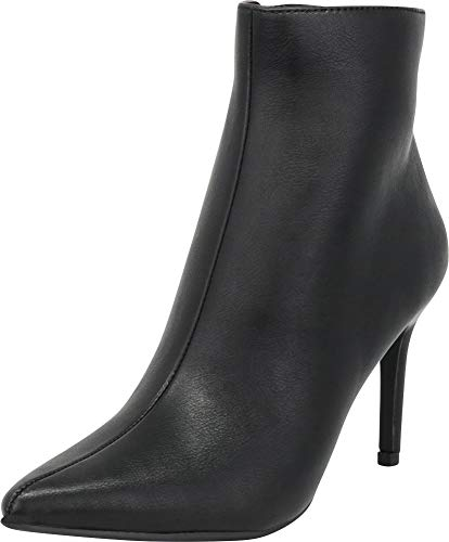 High Stiletto Pointed Heel (Cambridge Select Women's Classic Pointed Toe Stiletto High Heel Ankle Bootie,7 B(M) US,Black PU)