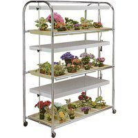 grow light cart on wheels 3 tier with energy efficient t8 lights. Black Bedroom Furniture Sets. Home Design Ideas