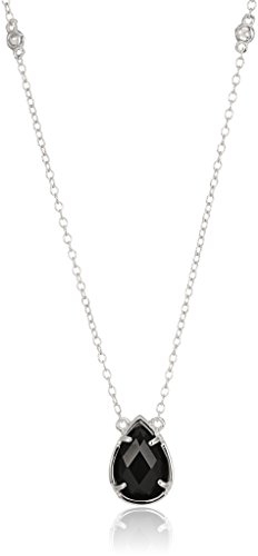 - sterling silver black onyx and white topaz station pendant necklace, 16