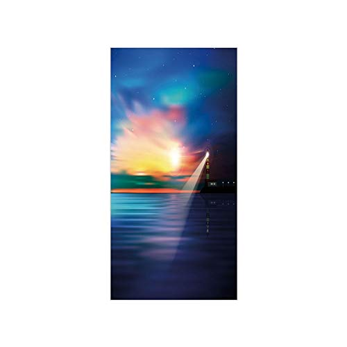Decorative Privacy Window Film/Majestic Dreamy Sky and Ocean Stars Rising Sun Beacon Bay Beach/No-Glue Self Static Cling for Home Bedroom Bathroom Kitchen Office Decor Dark Blue Light Blue Coral