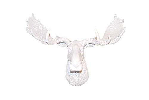 Near and Deer Large Faux Moose Head Wall Mount - Modern Farmhouse Decor - White (Head Wicker Moose)