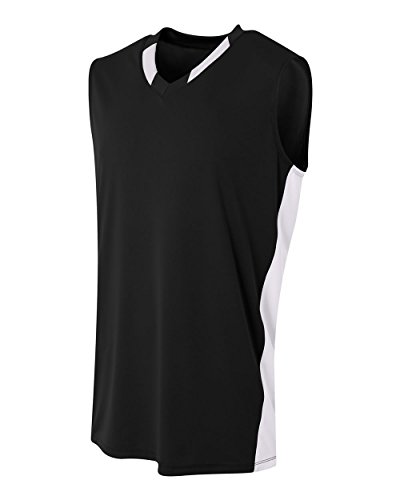 A4 Sportswear Black/White Youth XS (Blank) 2-Color Neck/Side Panel Uniform Jersey Top